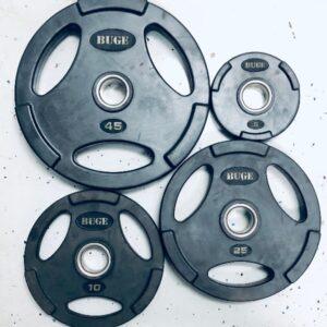 4 sizes Buge Olympic Plates - 5lb, 10lb, 25lb, 45lb