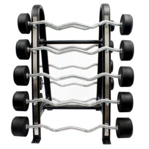 Buge Fixed EZ Curl Barbell Set 20 Lbs – 120 Lbs Set with Rack