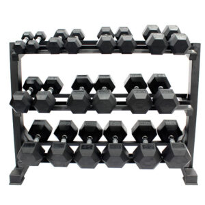 Buge Hex Dumbbells Set 5 Lbs – 50 Lbs with Rack