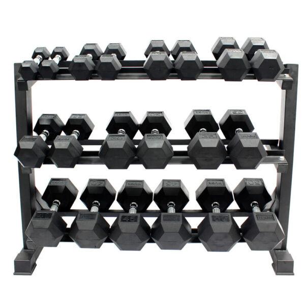 Buge Hex Dumbbells Set 5 Lbs – 50 Lbs with Rack